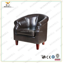 WorkWell pu high quality chidren dining room round sofa with rubber wood legs Kw-D308