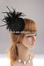 2013NEW DESIGN BLACK FEATHER MINI TOP HAT HAIR ACCESSORY WITH MATCHING BOBBY PIN