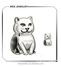 Cute Smiling Cat Silver Tone Mini Animal Charms for bracelet