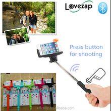 2015 smartphone monopod wireless extendable wholesale selfie stick with bluetooth shutter button remote