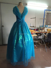 Instyles Walson new blue ladies brocade with bow cinderella costume