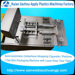 Semi-automatic Cellophane Wrapping Cigarette / Perfume / Tea Box Packaging Machine with Laser Easy Tear Tape