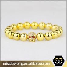 Missjewelry religious bead bracelets elastic gold stone skull bracelet
