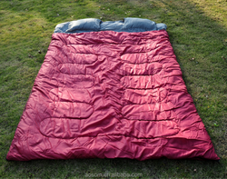 """Outsunny 86"""" x 59"""" Camping Two-Person Double Wide Sleeping Bag With Pillows - Red / Gray"""