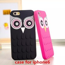 four color 3D silicone bird designs phone case for iphone 6