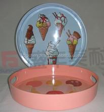 3pcs Bi-colors 100%melamine round tray with printing