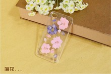 Dry pressed natural real flower cell phone accessory for iPhone4s case glitter handmade gift transparant resin flower