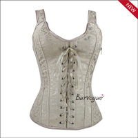In stock items and women shapers type supply brocade training shapwear with straps overbust bustier corset tops wholesale cheap