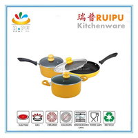2016 OEM Factory Supply! Multi-color cook world cookware,yellow and pink cookware pots and pans,dessini fry pan
