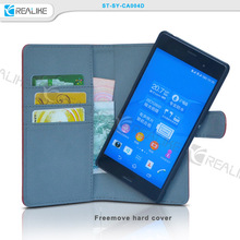 Luxury card holder leather bag phone cover for Sony z4
