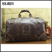 Wholesale mens british vintage designed leather travel duffle bag