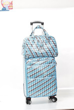 red printed PVC leather 2-Piece Carry-On travelling bag girls travel luggage
