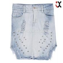 Casual Big size Blue Metal rivet Fashion Slim s knee length denim skirt for girls JXQ209