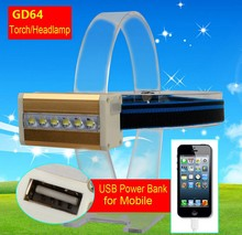 Goread GD64 multifunction headlamp USB power bank for mobile torch build in battery camping use