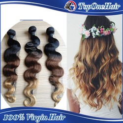 7A grade wholesale 100% indian human hair 3 tones ombre hair weave body wave hair extensions wet and wavy