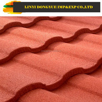Construction Building Roofing Material Wood type Stone Coated Red Color Metal Roof Tile
