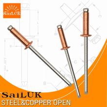Countersunk flat head Copper stainless steel blind rivets