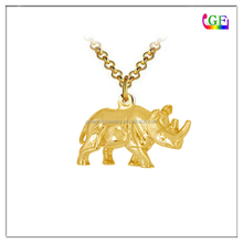 Gold Rhino Charm Necklace animal lover jewelry