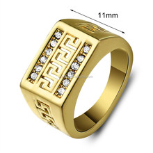 Men's Yellow Gold Plated Rectangle Ring,Cubic Zirconia Brass Valentine's Day Gift Ring