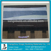 Colorful 4 Tab Roof Tile For Fiberglass Asphalt Waterproofing Materials