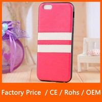 New Arrival PU Leather TPU Protective Stripe Cover Case Skin Shield For iPhone 6 4.7""