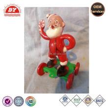 ICTI certificated make custom plastic santa on wheels pull toy