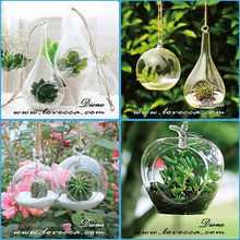 cheap wholesale glass art vase / ball shape with hole / ball shape hanging flower vase