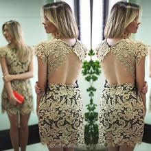 2015 New Fashion Women Lace Dress Vestido De Renda Sexy Backless Over Hip Short Sleeve Cocktail Dress Desigual Party Dresses