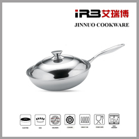 TRI-PLY Stainless steel cookware French Skillet chinese wok pan