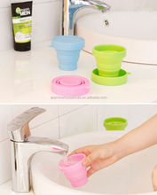 Food Grade Drinking Heat Resistance Silicone Folding Cup with Lid