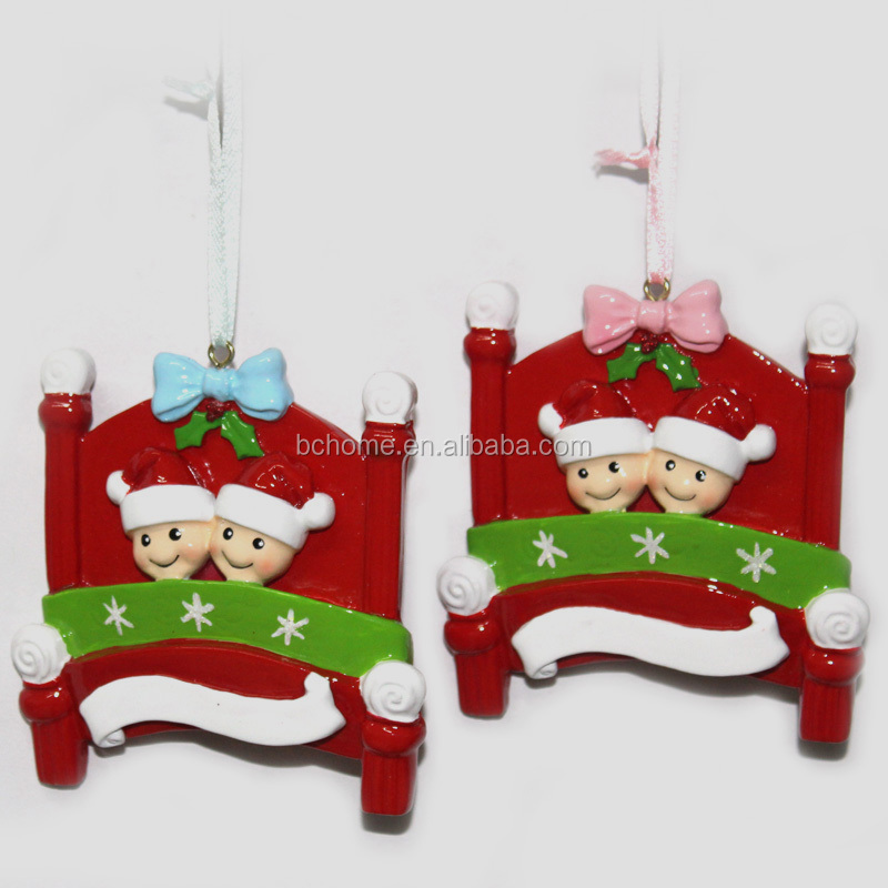 Boys and girls personalized polyresin christmas ornaments christmas