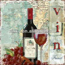 China handmade home decoration ideas wholesale ,wooden wall decor with romantic vin design.