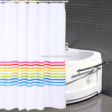 100% polyester printed with stripe waterproof shower curtain