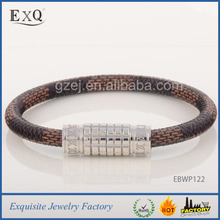2015 Wholesale Leather Bracelet For Men/Women Custom Leather Bracelet With Stainless Steel Magnetic Clasp