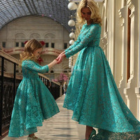 (MY2856) Marry You 2015 Children Wedding Dress Custom Made Long Sleeves Short Front Long Back Flower Girl Dress