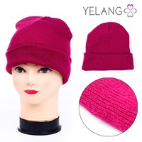 sexy lady girl winter fashion solid color red kniting hat