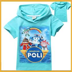 Korea t-shirts printing robocar poli cartoon character printed t-shirt