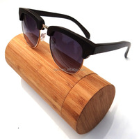 Half frame wood and bamboo sunglasses with tube case