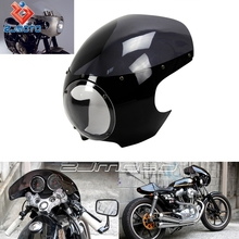 "ZJMOTO 5-3/4"" Head Light Fairing Motorcycle Bright Black + Smoke Motorbike Front Fairing Fit To Harley Custom Cafe Racer"