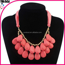 Bohemia ribbon drops necklace double collarbone decorative layered necklace