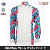 2015 custom french cuff marcella digital printing tuxedo shirt for men