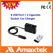Professional Supplier Provide Directly 2 Cigarette Socket Car Charger with 4 port USB Adaptor for USB peripheral Products