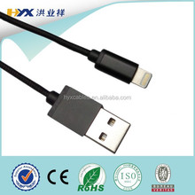 mfi manufacturer of aluminum nylon braided 8pin to usb mfi cable for iphone 5s,6,6 plug