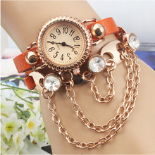 Vogue Women Ladies Beautiful Dress watch Crystal Dial Quartz Analog Leather Bracelet Wrist Watch