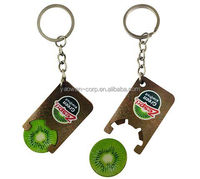 promotional plastic fruit token coin holder with keychain