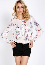Traditional chinese Women's Chiffon Floral Print T-Shirt blouses SV007653