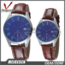 Bule glass men watch 2015 ,leather strap watch with Japanese movt couple lover wrist watch