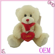 2015 New funny soft teddy bear plush toys with heart