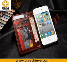 Case For iPhone 4/4S, Hot Sale MK wallet zipper leather case with genuine for Apple Iphone 4/4s