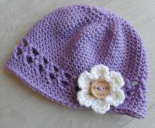 infant newborn baby vintage knitted kufi hat skull cap with flower guangzhou